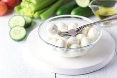 Bowl of Mini Mozzarella Fresh Tomatoes Cucumber Celery Olive Oil Italian Salad Healthy Food White Background stock photos