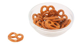 Bowl with mini pretzels Stock Image