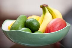 Bowl with mix of fruits Stock Photo