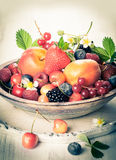 Bowl of mixed berries Stock Images