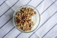 A bowl of Mixed berry granola. stock image