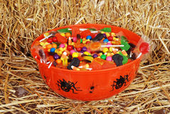 Bowl of mixed halloween candy. Closeup of a bowl of mixed halloween candy stock images