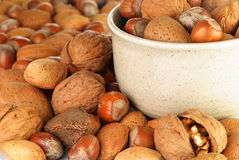 Bowl of mixed nuts. Containing almonds, hazelnuts, walnuts and Brazil nuts on a table Stock Photography