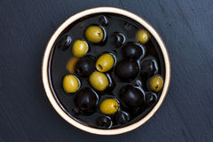 Bowl of mixed olives Stock Photography