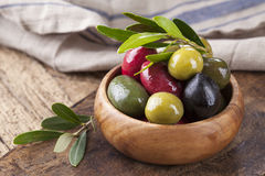 Bowl with mixed olives Stock Photo
