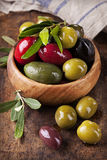 Bowl with mixed olives stock photography