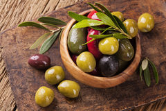 Bowl with mixed olives Royalty Free Stock Photography