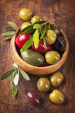 Bowl with mixed olives Royalty Free Stock Image