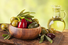 Bowl with mixed olives Stock Image