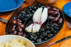 Bowl of mixed olives Stock Photos
