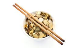 Bowl of money stock image