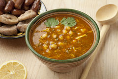 Bowl of Moroccan harira soup Stock Photography