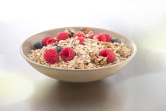 Bowl of muesli and berries Stock Photos