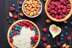 Bowl of muesli with berries Royalty Free Stock Images