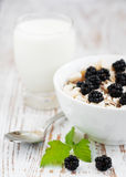 Bowl of muesli with blackberries Royalty Free Stock Photography