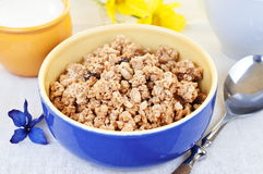 Bowl muesli on breakfast Royalty Free Stock Images