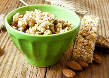 Bowl with Muesli and Cereal Bars Stock Image