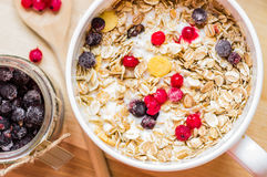Bowl of muesli with currants top view Stock Photography