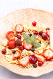 Bowl of muesli and fresh berries closeup Stock Photography
