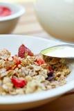 Bowl of muesli with fresh fruits Stock Photos