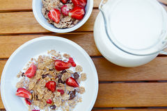 Bowl of muesli with fresh fruits Stock Photos