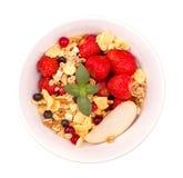 Bowl of muesli and fresh strawberry isolated Royalty Free Stock Photo