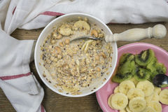 Bowl of muesli and fruits Royalty Free Stock Photography