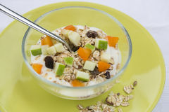 Bowl of muesli In Glass Bowl Royalty Free Stock Photos