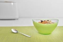 Bowl of muesli with honey Stock Photos