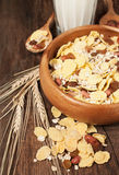 Bowl of muesli with milk Royalty Free Stock Photography