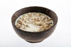 Bowl of muesli with milk Royalty Free Stock Photos