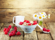 Bowl of muesli with raspberry Stock Image