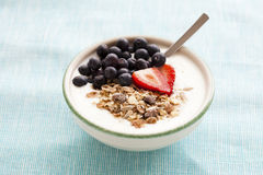 Bowl of muesli, yoghurt and berries Stock Photos