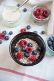 Bowl of muesli and yogurt with fresh berries Royalty Free Stock Image