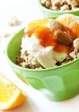 Bowl of Muesli with Yogurt and Fruits Stock Photos