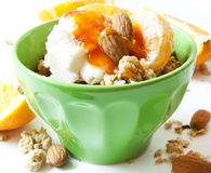 Bowl of Muesli with Yogurt and Fruits Stock Image