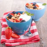 Bowl of muesli and yogurt Royalty Free Stock Images