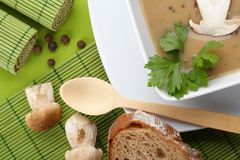 Bowl of Mushroom Soup with fresh forest mushrooms Stock Image