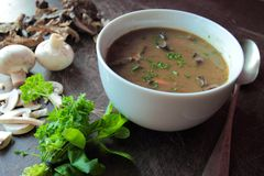 Bowl of mushroom soup with herbs Royalty Free Stock Images