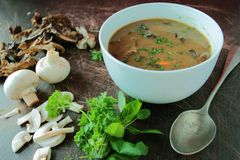 Bowl of mushroom soup with herbs Royalty Free Stock Photography