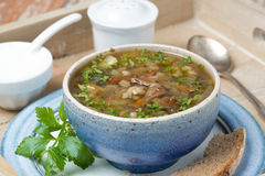 Bowl of mushroom soup with pearl barley on a tray, close-up Royalty Free Stock Photo