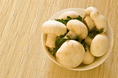 Bowl with mushrooms. Mushrooms with parsley in white bowl on bamboo board stock photography