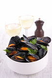 Bowl with mussel Stock Images