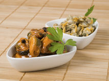 A bowl of mussels and cockles another Stock Images