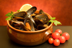 Bowl With Mussels Soup royalty free stock photography