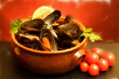 Bowl With Mussels Soup - Oil Paint Stock Photos