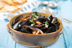 Bowl of mussels Royalty Free Stock Photography
