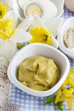 Bowl of mustard sauce Royalty Free Stock Images