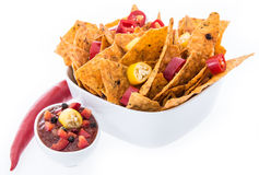 Bowl with Nachos isolated on white Royalty Free Stock Photo