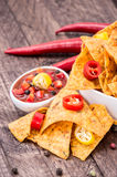 Bowl of Nachos with Salsa Sauce Stock Image